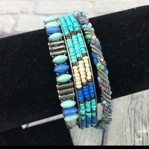 Bundle of 3 Southwestern  Beaded Bangle Bracelets